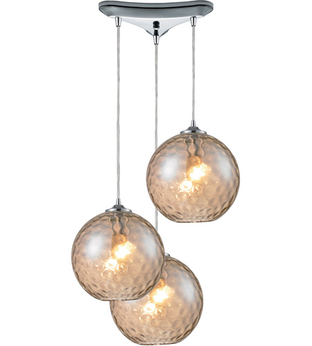 ELK 31380/3CMP Watersphere 3 Light 10 inch Polished Chrome Pendant Ceiling Light in Champagne Glass photo