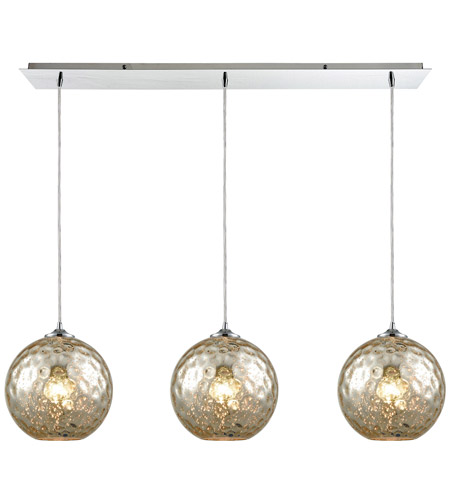 Elk 31380 3lp Mrc Watersphere 3 Light 36 Inch Polished Chrome Pendant Ceiling Linear Pan