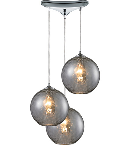 ELK Lighting Watersphere 3 Light Pendant in Polished Chrome and SMK Shade 31380/3SMK photo