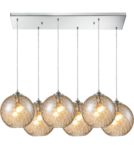 ELK 31380/6RC-CMP Watersphere 6 Light 33 inch Polished Chrome Pendant Ceiling Light in Champagne Glass photo