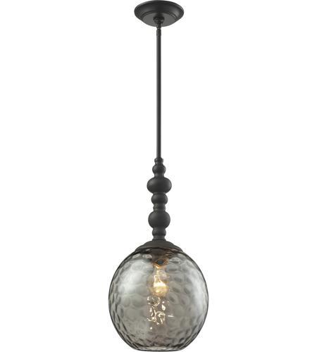 elk 313811ob watersphere 1 light 10 inch oil rubbed bronze pendant ceiling in smoke glass z
