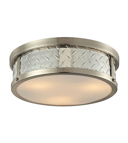 ELK 314223 Diamond Plate 3 Light 16 inch Brushed Nickel Flush
