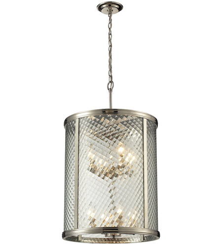Elk 31463 8 Chandler Light 18 Inch Polished Nickel Pendant Ceiling
