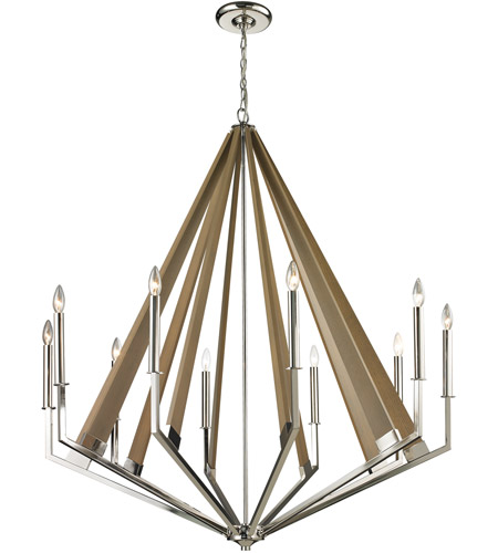 Elk 31476 10 Madera Light 45 Inch Polished Nickel Chandelier Ceiling