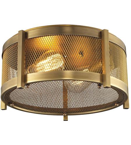 Elk Lighting Garriston: ELK 31481/2 Rialto 2 Light 13 Inch Aged Brass Flush Mount