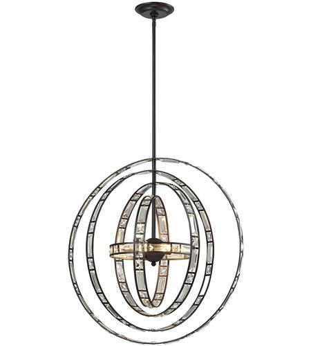 elk crystal orbs 6 light 24 inch oil rubbed bronze pendant ceiling light