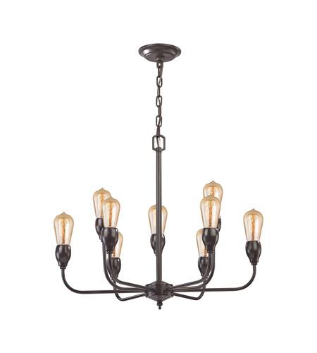 elk vernon 9 light 24 inch oil rubbed bronze chandelier ceiling light