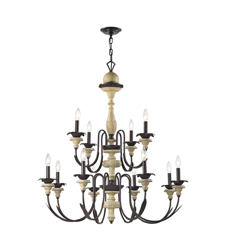 ELK 32221/8+4 Channery Point 12 Light 37 inch Oil Rubbed Bronze,Aged Cream Chandelier Ceiling Light photo