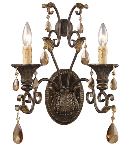 ELK Lighting Rochelle 2 Light Sconce in Weathered Mahogany Ironwork 3341/2 photo