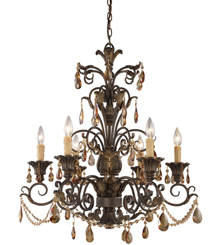 ELK 3344/6 Rochelle 6 Light 28 inch Weathered Mahogany Ironwork Chandelier Ceiling Light photo