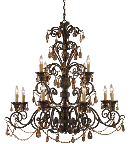 ELK 3345/8+4 Rochelle 12 Light 42 inch Weathered Mahogany Ironwork Chandelier Ceiling Light photo