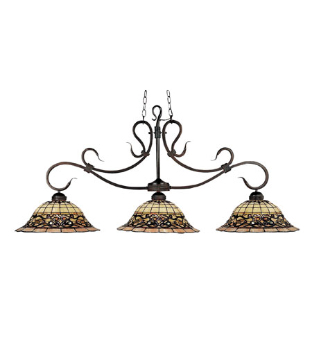 ELK 348-VA Tiffany Buckingham 3 Light 54 inch Vintage Antique Billiard/Island Ceiling Light in Standard photo