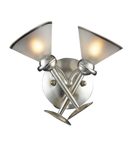 Elk Lighting Martini Gl 2 Light Sconce In Silver Leaf 3650
