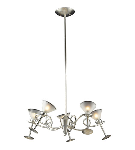 ELK Lighting Martini Glass 5 Light Chandelier in Silver Leaf 3653/5 photo