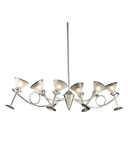 ELK Lighting Martini Glass 6 Light Chandelier in Silver Leaf 3654/6 photo