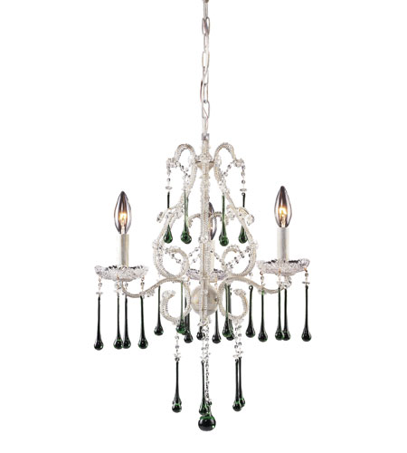 ELK 4001/3LM Opulence 3 Light 17 inch Antique White Chandelier Ceiling Light in Lime Crystal photo