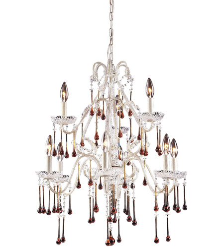 ELK 4003/6+3AMB Opulence 9 Light 25 inch Antique White Chandelier Ceiling Light in Amber Crystal photo
