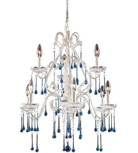 ELK 4003/6+3AQ Opulence 9 Light 25 inch Antique White Chandelier Ceiling Light in Aqua Crystal photo