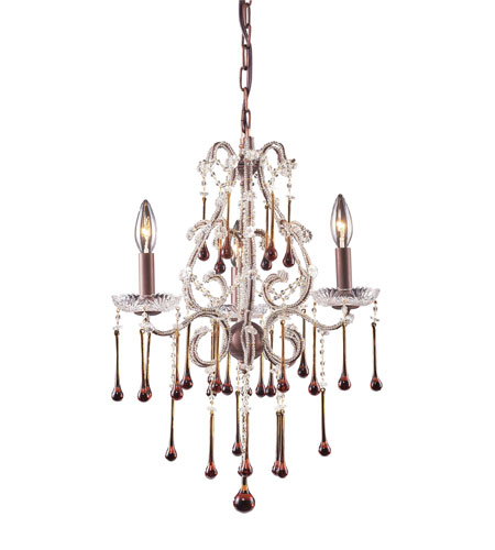 ELK 4011/3AMB Opulence 3 Light 17 inch Rust Chandelier Ceiling Light in Amber Crystal photo