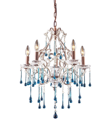 ELK 4012/5AQ Opulence 5 Light 20 inch Rust Chandelier Ceiling Light in Aqua Crystal photo