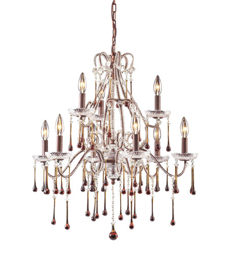 ELK 4013/6+3AMB Opulence 9 Light 25 inch Rust Chandelier Ceiling Light in Amber Crystal photo