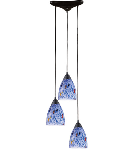 ELK 406-3BL Classico 3 Light 10 inch Dark Rust Pendant Ceiling Light in Starburst Blue Glass photo