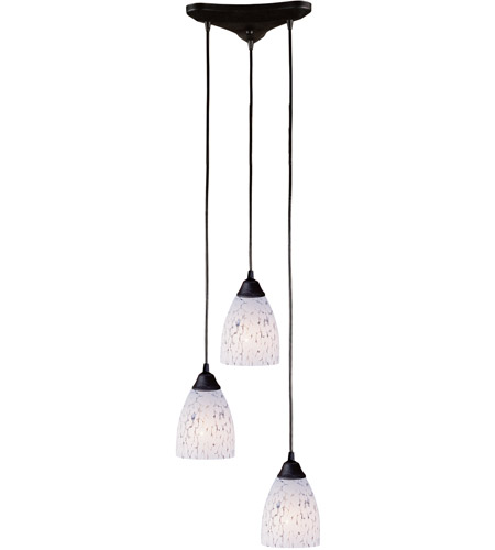 ELK 406-3SW Classico 3 Light 10 inch Dark Rust Pendant Ceiling Light in Snow White Glass photo