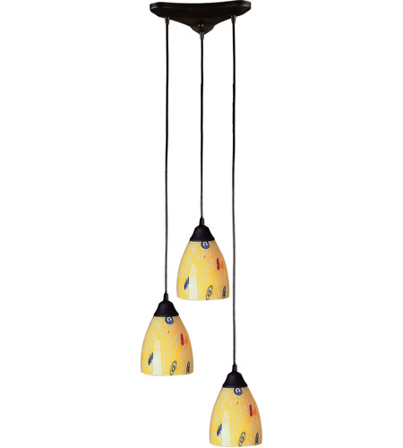 ELK 406-3YW Classico 3 Light 10 inch Dark Rust Pendant Ceiling Light in Yellow Blaze Glass photo