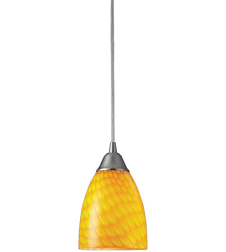 ELK 416-1CN Arco Baleno 1 Light 5 inch Satin Nickel Pendant Ceiling Light in Incandescent, Canary Glass, Standard photo