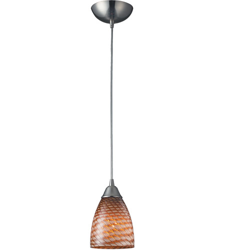 ELK 416-1C Arco Baleno 1 Light 5 inch Satin Nickel Pendant Ceiling Light in Incandescent, Cocoa Glass, Standard photo