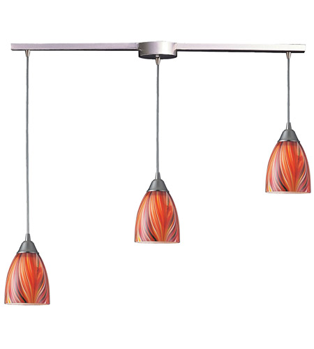 ELK 416-3L-M Arco Baleno 3 Light 10 inch Satin Nickel Pendant Ceiling Light in Multi Glass photo
