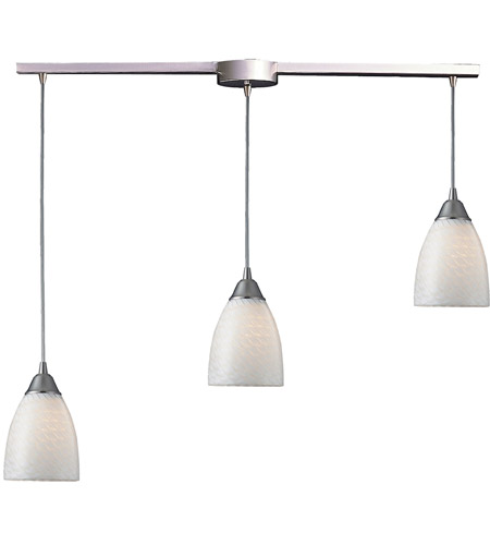 ELK 416-3L-WS Arco Baleno 3 Light 10 inch Satin Nickel Pendant Ceiling Light in White Swirl Glass photo