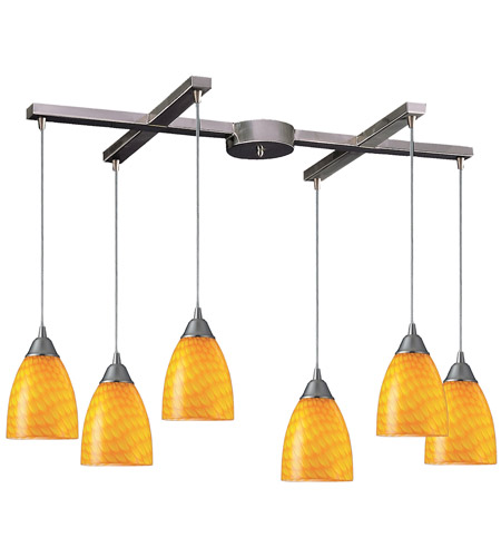 ELK 416-6CN Arco Baleno 6 Light 33 inch Satin Nickel Pendant Ceiling Light in Canary Glass photo