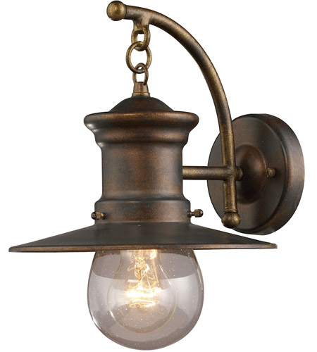 elk 420061 maritime 1 light 12 inch hazelnut bronze outdoor sconce - Outdoor Sconce Lighting