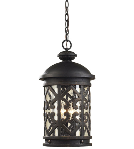 ELK 42063/3 Tuscany Coast 3 Light 10 inch Weathered Charcoal Outdoor Pendant photo
