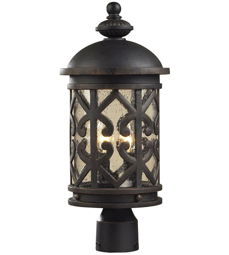 ELK Lighting Tuscany Coast 2 Light Outdoor Post Light in Weathered Charcoal 42064/2 photo