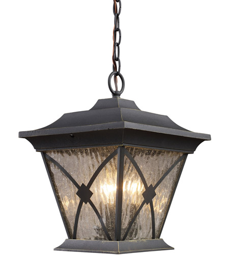 ELK Lighting Rutland Square 3 Light Outdoor Pendant in Hazelnut Bronze 42123/1 photo