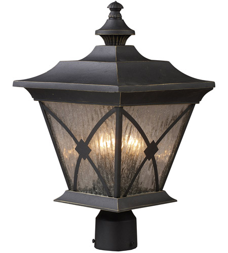 ELK Lighting Rutland Square 3 Light Outdoor Post Light in Hazelnut Bronze 42124/1 photo