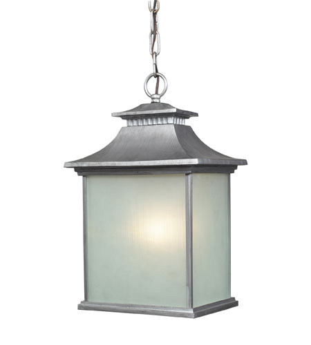 ELK Lighting San Gabriel 1 Light Outdoor Pendant in Vintage Silver 42193/1 photo