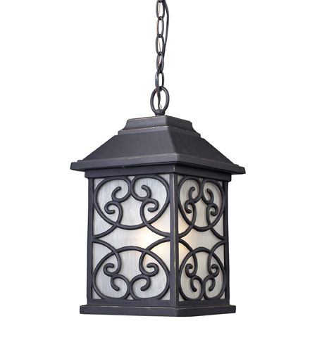 ELK Lighting Spanish Mission 1 Light Outdoor Pendant in Weathered Charcoal 42282/1 photo