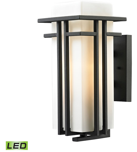 elk 450861led croftwell led 15 inch textured matte black outdoor wall sconce
