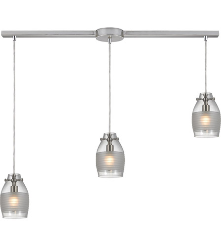 ELK 46161/3L Carved Glass 3 Light 36 inch Brushed Nickel Linear Pendant Ceiling Light in Linear with Recessed Adapter
