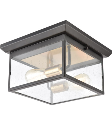 ELK 46683/2 Knowlton 2 Light 12 inch Matte Black with Brushed Brass Outdoor Flush Mount photo