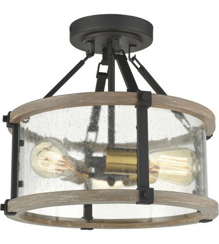 Elk 47286 3 Geringer 15 Inch Charcoal Beechwood Burnished Brass Semi Flush Mount Ceiling Light