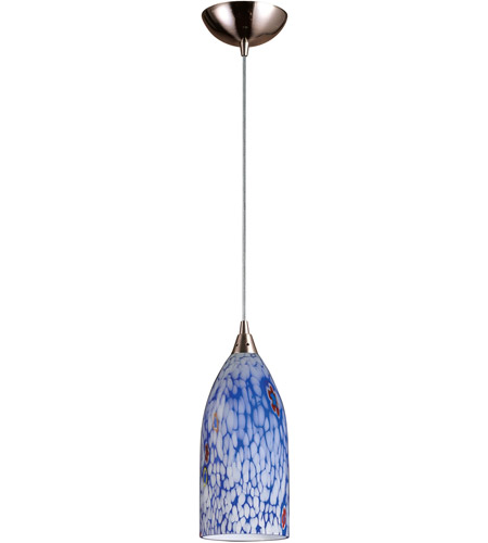ELK 502-1BL-LED Verona LED 5 inch Satin Nickel Pendant Ceiling Light in Starburst Blue Glass, Standard photo