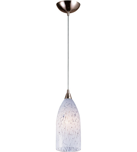 ELK 502-1SW-LED Verona LED 5 inch Satin Nickel Pendant Ceiling Light in Snow White Glass, Standard photo