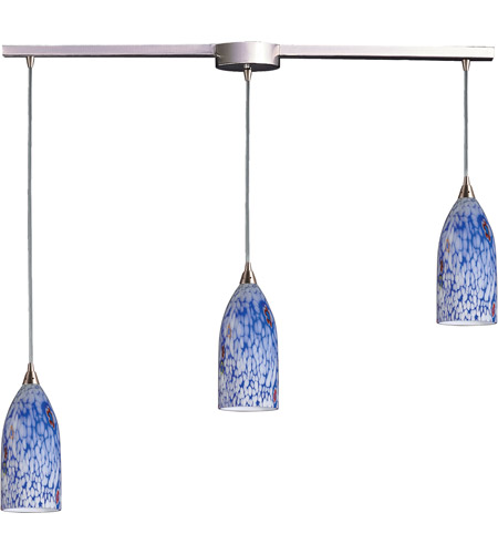 ELK 502-3L-BL Verona 3 Light 36 inch Satin Nickel Pendant Ceiling Light in Starburst Blue Glass photo