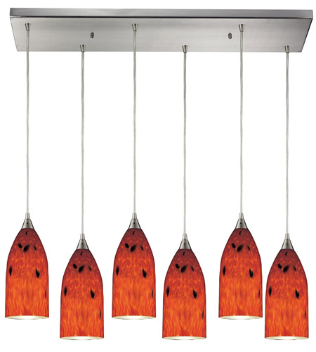 ELK 502-6RC-FR Verona 6 Light 30 inch Satin Nickel Pendant Ceiling Light in Fire Red Glass photo
