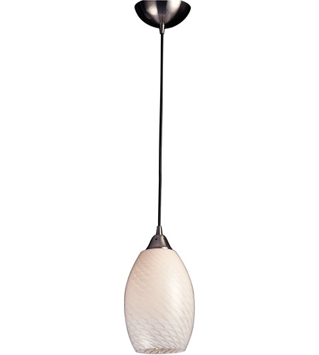 ELK 517-1WS Mulinello 1 Light 6 inch Satin Nickel Pendant Ceiling Light in Incandescent, White Swirl Glass, Standard photo