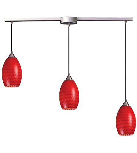 ELK 517-3L-SC Mulinello 3 Light 36 inch Satin Nickel Pendant Ceiling Light in Scarlet Red Glass photo